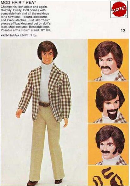 Mod Hair Ken. Peel and Stick facial hair