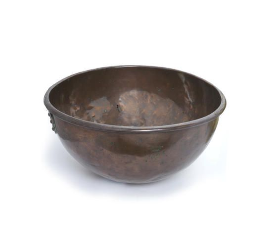 A Victorian copper bread proving or egg mixing bowl, by Benham & Froud Engraved with a 'P' beneath a ducal coronet, probably for the Duke of Portland, and 'W 1', probably for Welbeck Abbey, their seat
