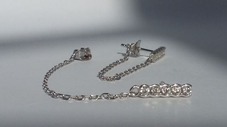 925 Sterling Silver Studs with CZ and chain