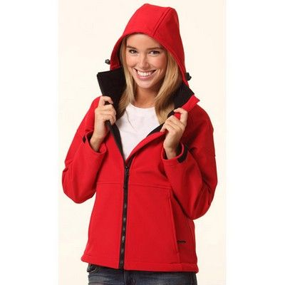 Promo Ladies Softshell Hooded Jacket Min 25 - 320gsm 100% Polyester shell back with contrast collar and side panels. #Hoodies #Sweatshirt #PromotionalProducts #LadiesHoodie #KidsHoodie #MensHoodie