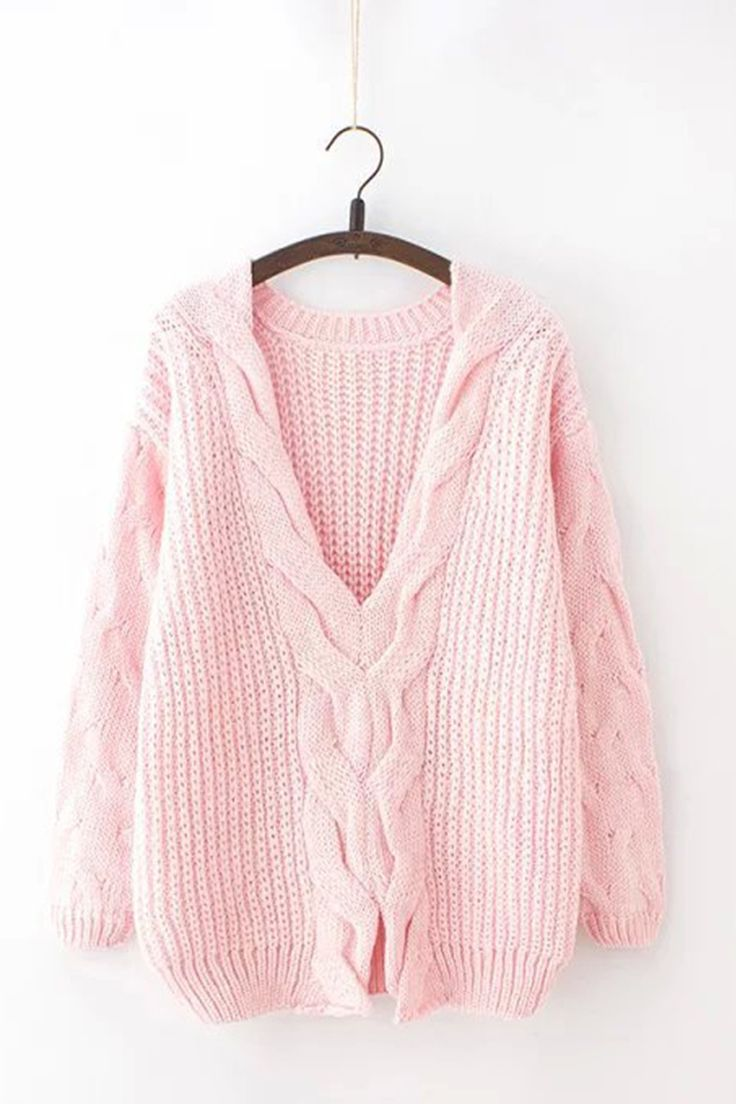 Pastel Pink V-Neck Cable Sweater