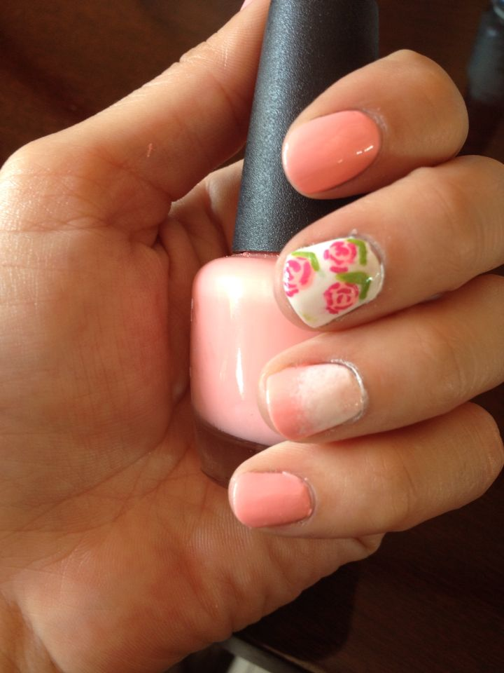 Vintage uñas flores. Home made!