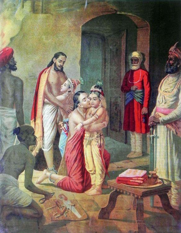 Sri Krishna with Balarama Freeing Parents (Vasudev and Devki) from Prison after Killing Uncle Kamsa