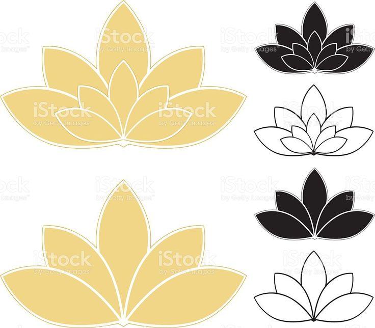 Fleurs Lotus, nénuphars feu (or, blanc et noir), et icônes stock vecteur libres de droits libre de droits