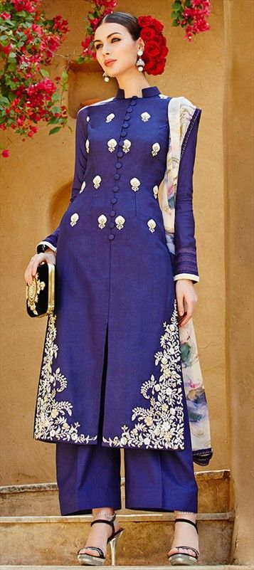 MONACO BLUE - love this color? Then have a look at this designer #SalwarKameez for parties and weddings!    #Embroidery #Palazzo #Bridalwear #Partywear #designer #IndianWedding