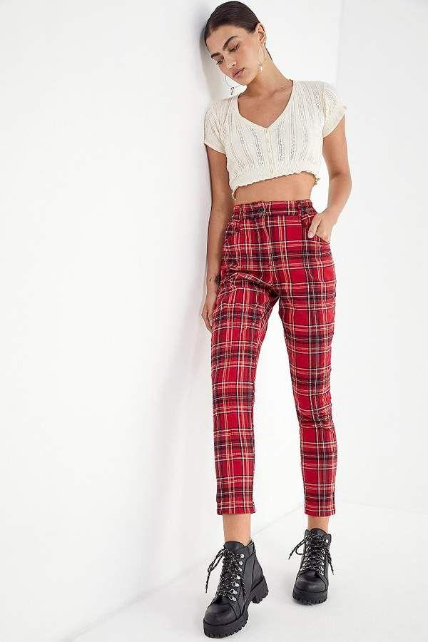 3adb0edc7152 UO Cece Plaid Mom Pant | Products | Mom pants, Fashion outfits, Fashion