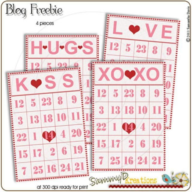 Cute, Printable (And Free) Valentine's Day Bingo Cards for All Ages: Valentine Bingo Cards at SammyD Kreations