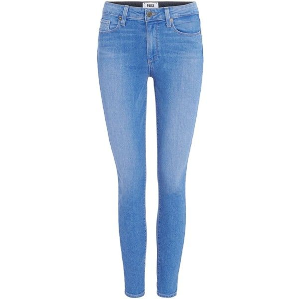 Paige Hoxton mid rise ankle skinny jean found on Polyvore featuring jeans, pants, bottoms, denim, clearance, denim mid wash, mid rise skinny jeans, super stretch jeans, stretchy jeans and stretch jeans