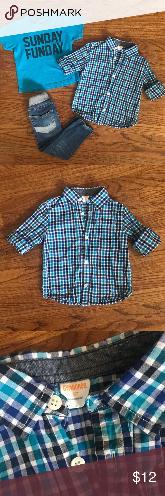 Boy's Outfit Bundle includes short sleeve Sunday Funday shirt, long sleeve button down checkered shirt, and a pair of jeans. Jeans are Cat & Jack size 3T. The brand/size of the short sleeve tee has faded and is unreadable, but it was purchased from Nordstrom Rack and is size 3T. The brand is Kid Dangerous Grime Couture. Long sleeve button down shirt is Gymboree size 2T. My son was able to wear this shirt as a 3 year old. All items are in GUC/VGUC. Jeans have slight fading on knees (see last…