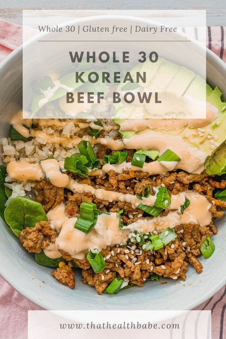Korean Beef Bowl Health Babe Recipe In 2020 Dairy Free Lunch Dairy Free Low Carb Healthy Beef Recipes