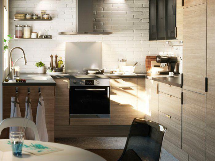 kleine küchen einrichten offene wandregale weiße wandfliesen - küchen wandfliesen ikea