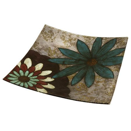 Curving glass tray with a floral motif.     Product: TrayConstruction Material: GlassColor: Multi