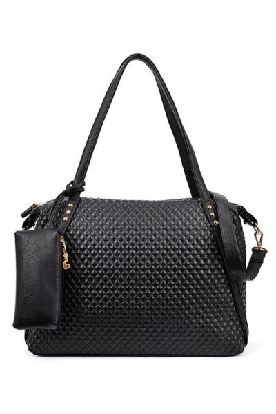 Black Diamond Checkered Satchel