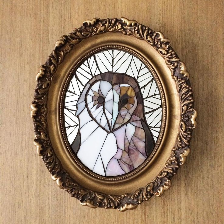 Barn Owl in a Fancy Frame (sold!) What animal portrait would you like to see next? Building inventory for the shop . #mirror #feathers #mamalife #handsandhustle #handmadewithlove #mosaic #stainedglass #owl #barnowl #makersgonnamake #handmade #creativelifehappylife #chicagoart #animallover #animalportrait