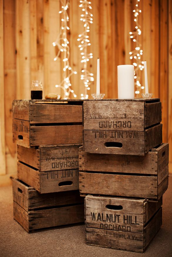 Rustic Barn Wedding In Tennessee. Oooh, what I nice idea for all my old crates! I knew being a hoarder would pay off eventually.