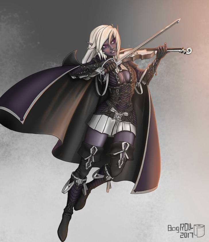 Female Drow Dark Elf Bard With Violin And Impressive