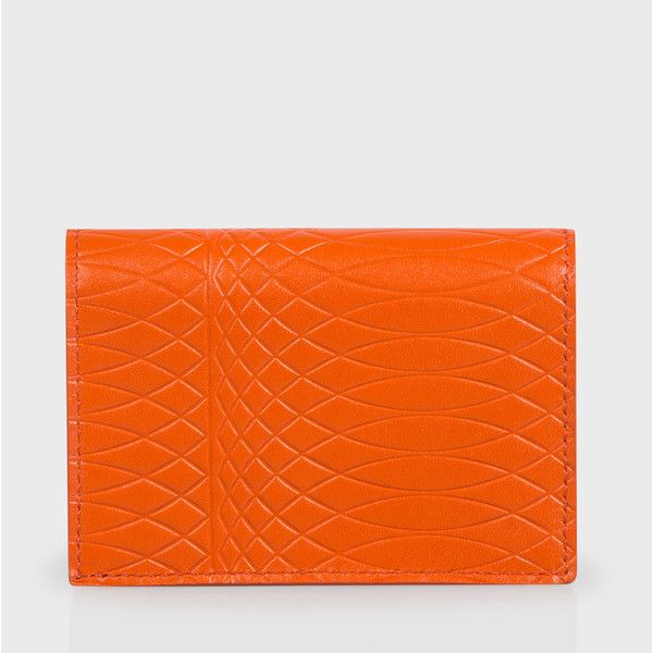 Paul Smith No.9 Orange Leather Credit Card Wallet (€135) ❤ liked on Polyvore featuring bags, wallets, orange leather wallet, orange wallet, print wallets, leather credit card holder wallet and coin pouch