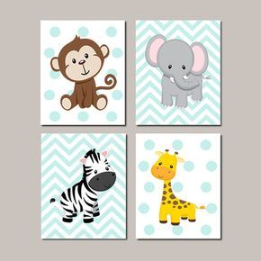 JUNGLE Nursery Wall Art ELEPHANT Giraffe by LovelyFaceDesigns