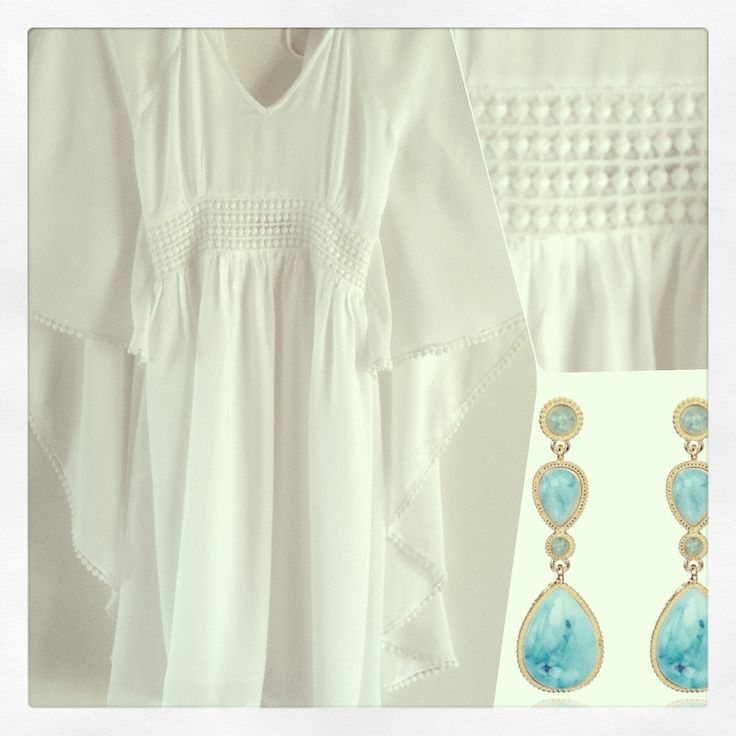 'Cloud Princess' butterfly style dress with embroidery detail by Molly & Eliza. Accessorise with inspirational stunning turquoise drop earrings. Follow on Instagram @Vanessa @ Molly & Eliza for the latest releases.