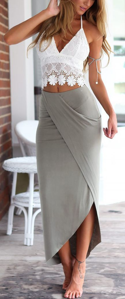 Women's fashion   Boho white crochet top, grey wrap skirt