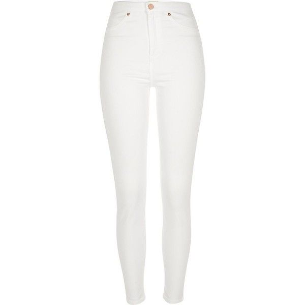 River Island White high waisted Molly jeggings found on Polyvore featuring pants, leggings, jeans, bottoms, skinny jeans, white and river island