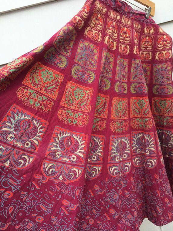 Vintage India wrap skirt cotton batik maxi by JanetsVintagePlanet, $65.00