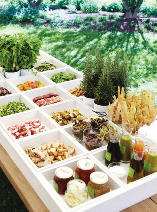 *what a cute idea for a salad bar* simple, neat, clean. #wedding #reception #outdoors #food