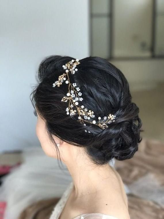 Extra Long Hair Vine Bridal Hair Vine Wedding Hairpiece Pearl Gold Hair Vine Bridal Hair Jewelry Pearl Hair Wreath Flower Hair Vine