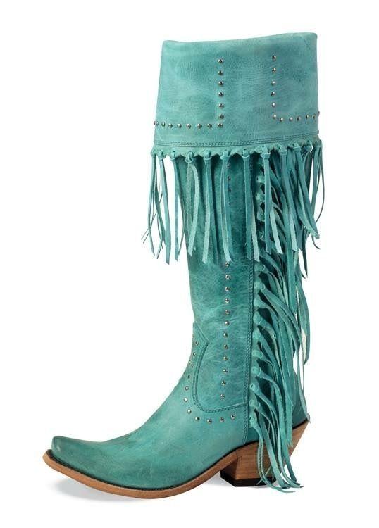Liberty Black Tall Turquoise Fringe
