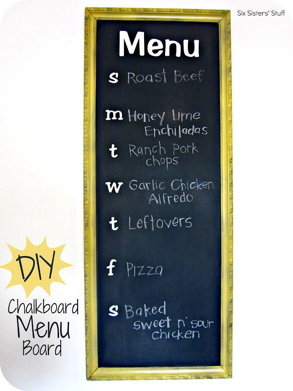"""DIY Chalkboard Menu Planner Board. Your family will never ask """"What's For Dinner?"""" again! Made out of an old frame and so easy to do! #crafts #menuboard SixSistersStuff.com"""