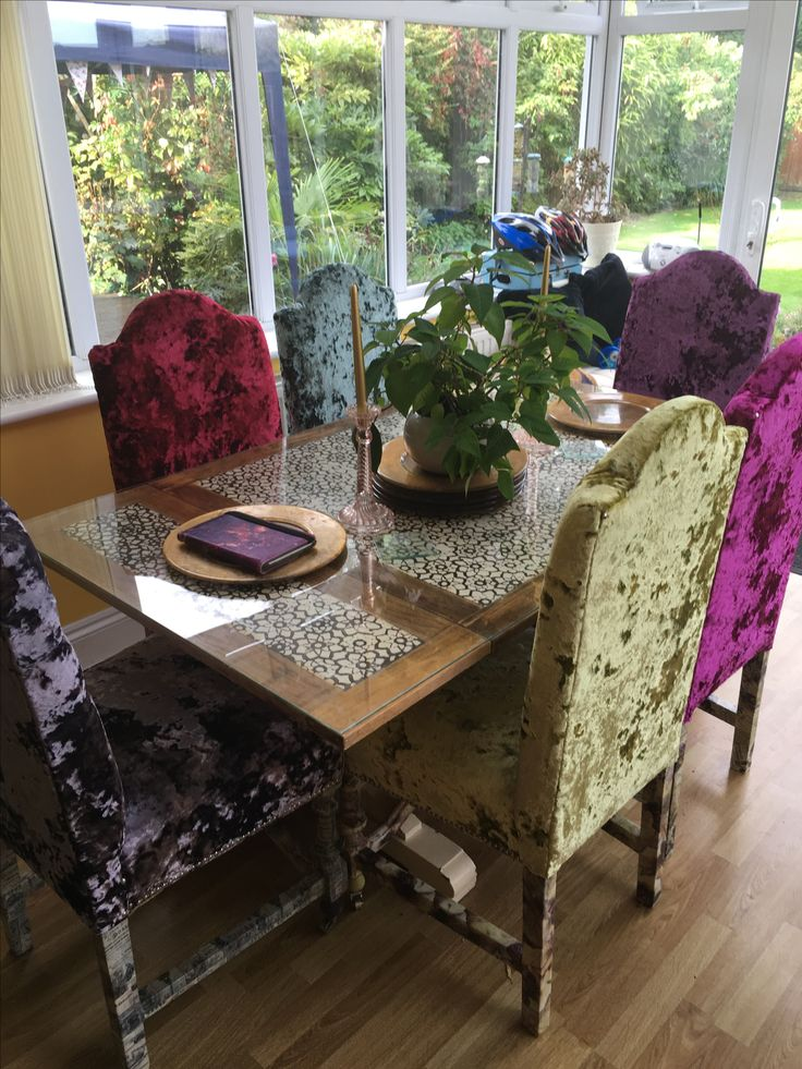 Six decoupage Utility oak dining sprung dining chairs reupholstered with Christina Marrone Lustro Metallic velvet.  #VelvetChairs #DiningChairs  #Lustro #Upholstery