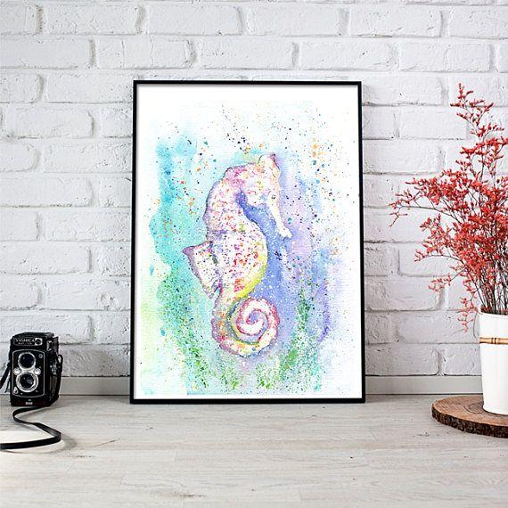 Seahorse Wall Art Seahorse Art Print Seahorse Painting