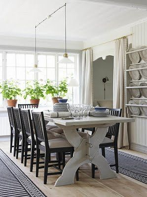 Love the runners rather than an area rug under table.  Like this table and chair (my windsors) combo.