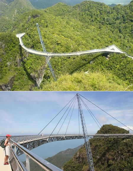 This sky bridge spans around the gorge on Pulau Langkawi, the largest island in the Langkawi archipelago, Malaysia. It's suspended at 687 m above sea level, offering magnificent views of the Andaman Sea and Thailand's Tarutao Island. This unique cable-stayed bridge is suspended by only one support column. This 95-yard column is held up by 8 load-balancing cables. The curved pedestrian bridge spans 125 m across a spectacular chasm. The bridge is 136 yards long and 2 yards wide.