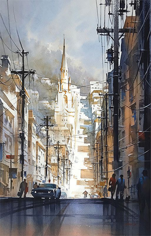 """""""After the Rain"""" - Filbert Street : San Francisco - cityscape watercolor by Thomas W. Schaller ~ 30 x 22 inches  #sanfrancisco #watercolor #street #painting #art #thomasschaller"""