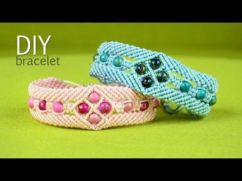 ▶ Make a Macramé Bracelet with Diamonds and Beads - Tutorial - YouTube