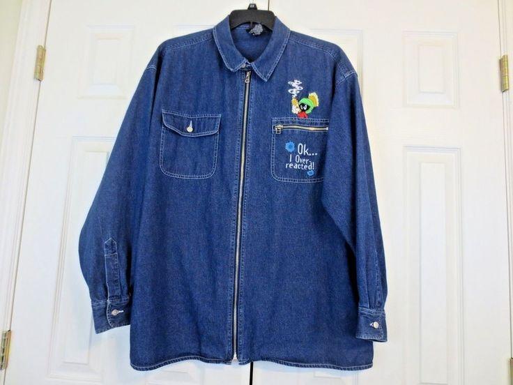 Warner Bros. Studio Store Marvin the Martian Men's Denim Zip Jacket XL VINTAGE #WarnerBrosStudioStore #JeanJacket