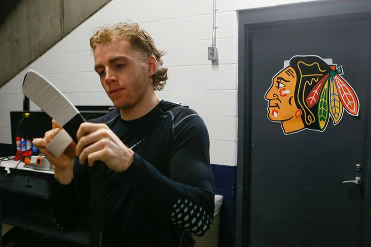 Patrick Kane readies his stick.