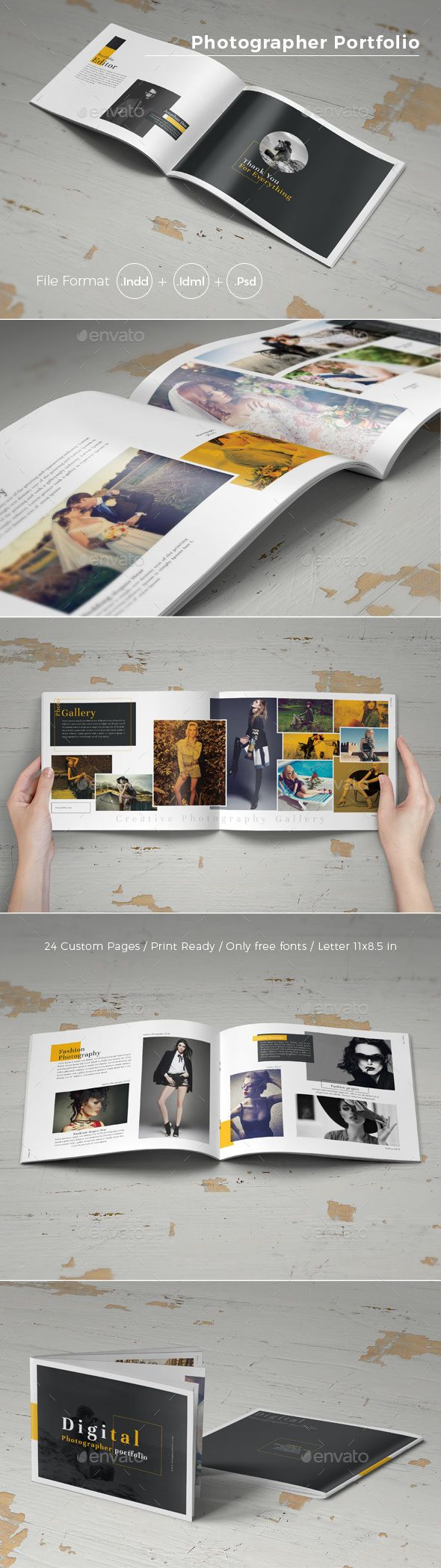 Photographer Portfolio Brochure Template PSD, InDesign INDD - 24 Custom Pages, US Letter Size