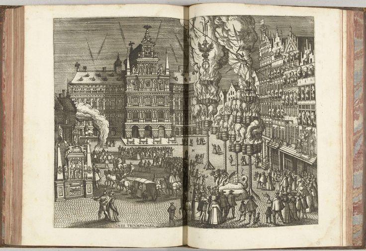Pieter van der Borcht (I) | Vreugdevuren en vuurwerk op de Grote Markt, 1594, Pieter van der Borcht (I), Officina Plantiniana, 1594 - 1595 | Vreugdevuren en vuurwerk op de Grote Markt voor het Stadhuis. Op het plein het toegestroomde publiek, een rijtuig en brandende pektonnen. Onderdeel van de beschrijving van de intocht van aartshertog Ernst te Antwerpen, 18 juli 1594, door Joannes Bochius, Descriptio publicae gratulationis, spectaculorum et ludorum, in adventu Sereniss. Principis Ernesti…