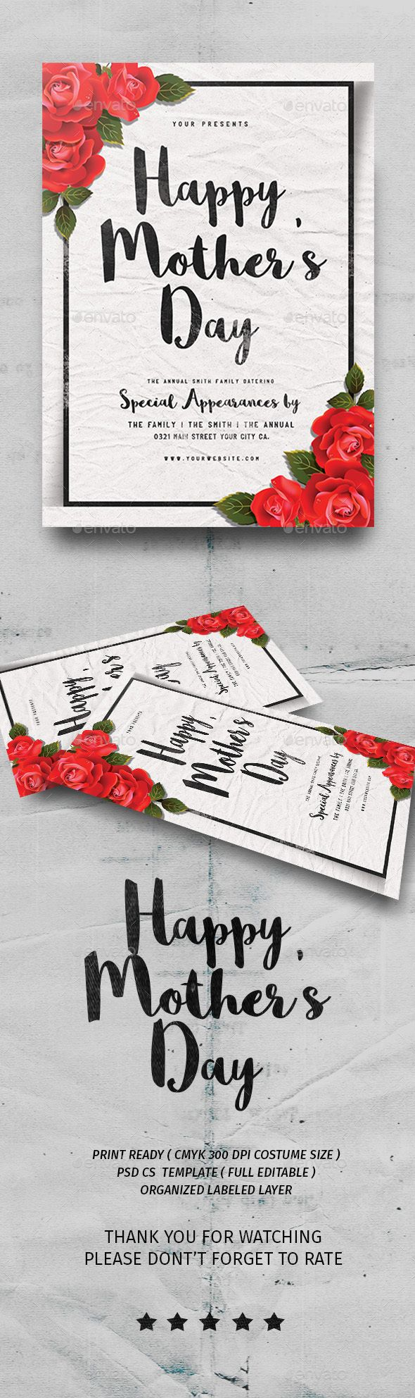 Happy Mother's Day  #flyer #template #script • Available here → http://graphicriver.net/item/happy-mothers-day/15772711?s_rank=101&ref=pxcr