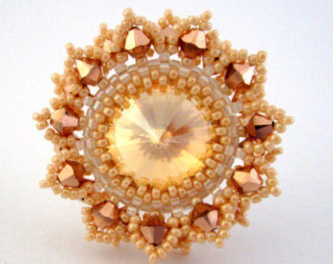 Peyote Ring / bague de perle / réglable anneau / bague Swarovski / perles Swarovski / coloré bijoux