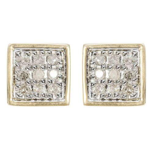 9ct Yellow Gold 9 Diamond Square Stud Earrings only $125 - purejewels.com.au