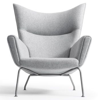 Designed originally by world famous designer Carl Hansen, The 445 Lounge Chair and Ottoman can become your new haven. Gather strength between two joined wingtips with this captivating First Class Chair. Perched on two back and fore chrome legs, the piece perfectly illustrates the correspondence of elements in motion. Complete with a capacious ottoman, experience incredible style without sacrificing on comfort.