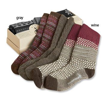 Smart Wool socks - blend of merino wool & cotton. They really do keep feet toast warm (and dry.)