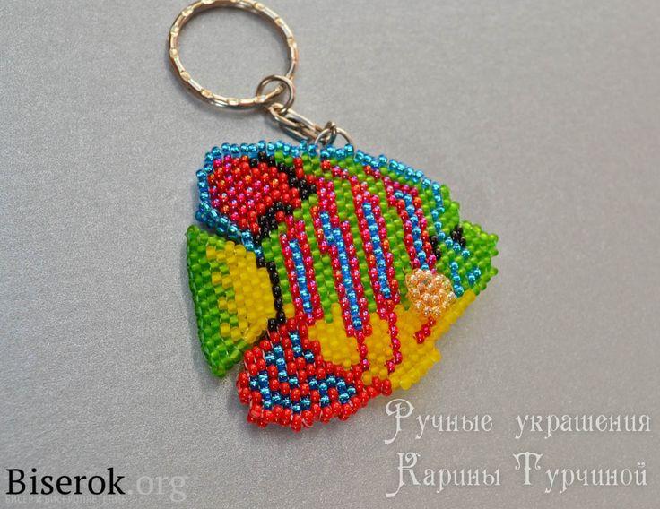 рыбка-ангел из бисера, брелок в форме рыбки схема кирпичиком, кирпичное плетение мк