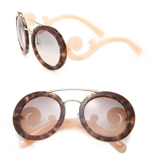 Prada 54MM Round Acetate & Metal Sunglasses Pink            $59.00