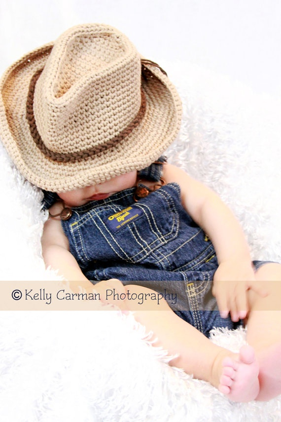 Crochet Baby Cowboy Hat Photo Prop by gammyshouse on Etsy, $22.00