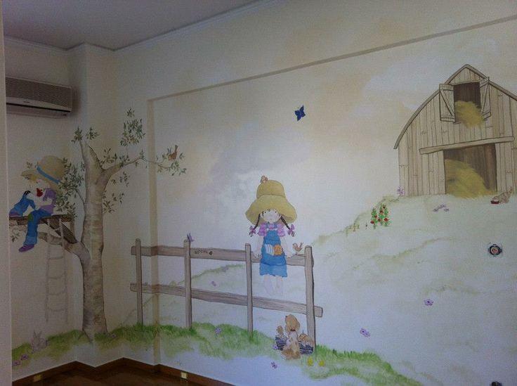 Sarah Kay inspired girl's room mural by Manuela Palinginis