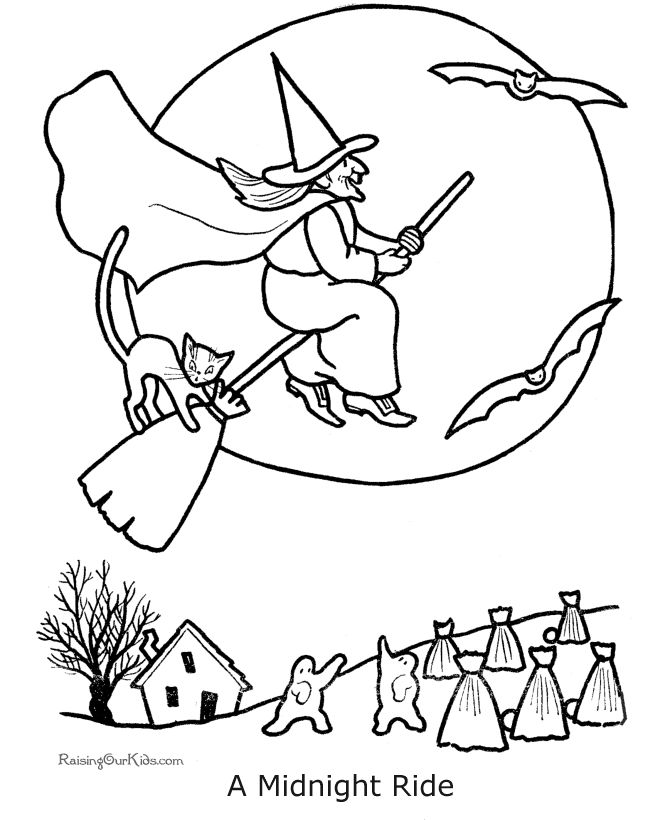 simple witch coloring pages - photo #17